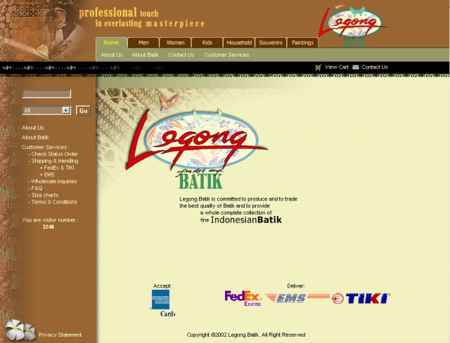 Legong Batik. Website design. 2001