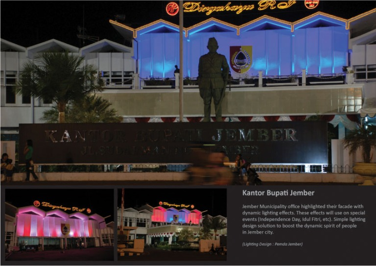 Pemda Jember office facade lighting. 2008. As technical support