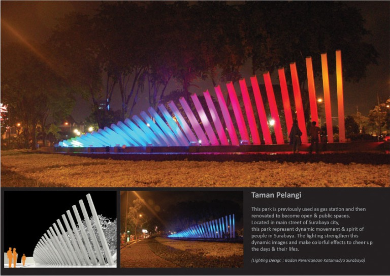 Taman Pelangi decorative lighting, Surabaya. 2008. As a technical support