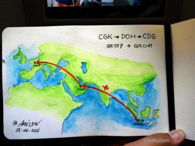 airplane-CGK-DOH-CDG