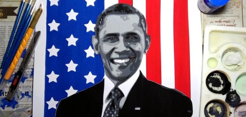 Paper Cutting Cupo-Obama
