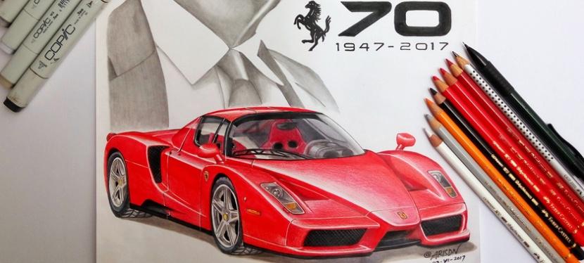 Car and Portrait EnzoFerrari
