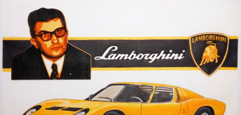 Car and Portrait of Ferruccio Lamborghini