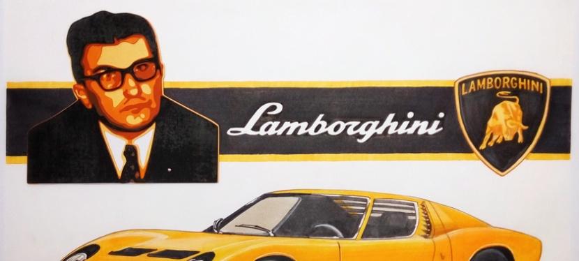 Car and Portrait of FerruccioLamborghini