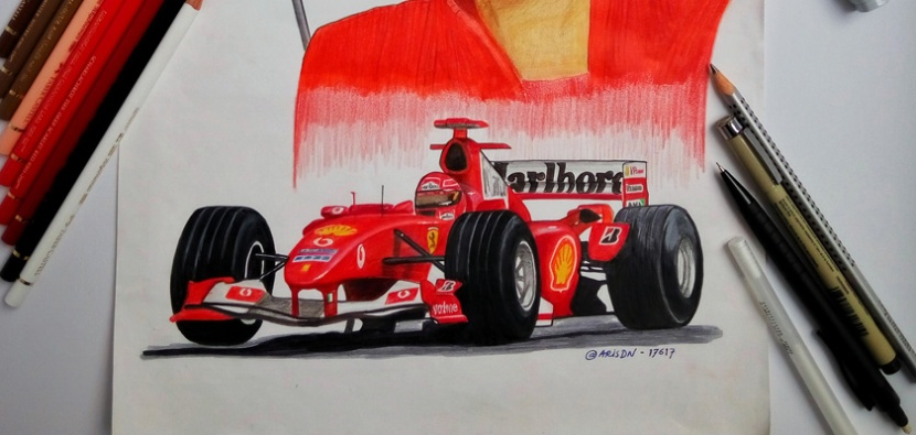 Car and Portrait of Michael Schumacher